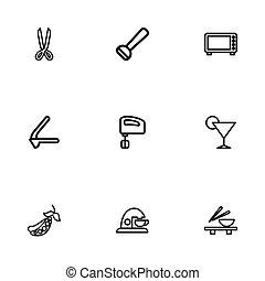 Set von 9 bearbeitbaren Mehl Icons. Fügt Symbole wie Erbsen, Mikrowelle, Knoblauchpresse und mehr ein. Kann für Web-, Mobile-, UI- und infographisches Design verwendet werden.