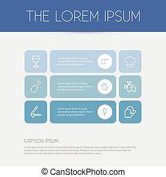 Set von 9 bearbeitbaren Mehl Icons. Fügt Symbole wie gebratenes Bein, Knoblauchpresse, Fleischwolf und mehr ein. Kann für Web-, Mobile-, UI- und infographisches Design verwendet werden.