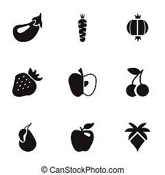 Set von 9 berry icons editierbar. Fügt Symbole wie Aubergine, Palme, Glühbirne und mehr ein. Kann für Web-, Mobile-, UI- und infographisches Design verwendet werden.