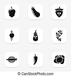 Set von 9 editierbaren Koch-Icons. Inklusive Symbole wie Auberginen, süßer Pfeffer, Kohl und mehr. Kann für Web-, Mobile-, UI- und infographisches Design verwendet werden.