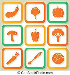 Set von 9 Icons mit Gemüse