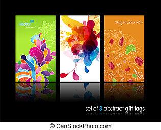 Set von abstrakten bunten Spritzen und Blumen Geschenkkarten mit Reflexion.