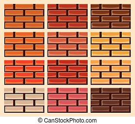Set von Backsteinwand Texturen in verschiedenen Farben.