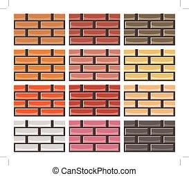 Set von Backsteinwand Texturen in verschiedenen Farben, nahtlose Muster.
