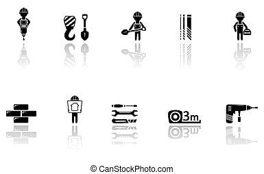 Set von Bau-Icons mit Werkzeugen.