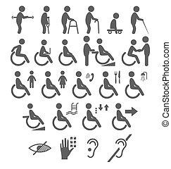 Set von Behinderungen Menschen Piktogramme flache Icons isoliert auf weiß.