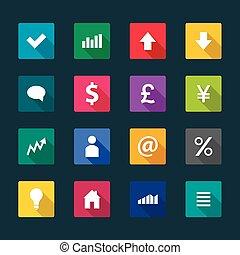 Set von Business Flat Icons, Vektorgrafik.