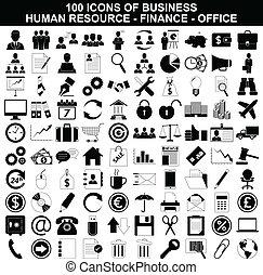 Set von Business Icons, Personal, Finanzen und Büro.