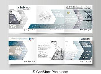 Set von Business-Templates für Tri-Falt Square Design Broschüren. Abstraktes Vektorlayout. DNA und Neuronen Molekülstruktur. Medizin, Wissenschaft, Technologiekonzept. Scalable Grafik.