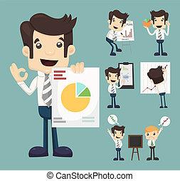 Set von Businessman Charakter Präsentationsgraph.
