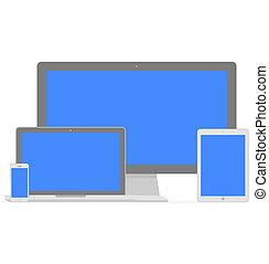Set von Flachbild-Display, Laptop, Tablet-Computer und Handy-Templates mit blauem Bildschirm