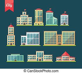 Set von flachen Design Gebäude Icons.