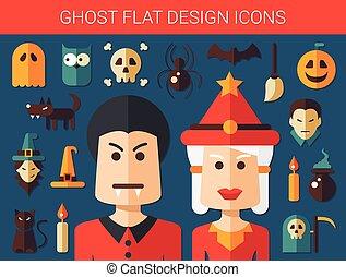 Set von flachen Design Geister Icons.
