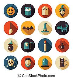 Set von flachen Design Halloween Ikonen.