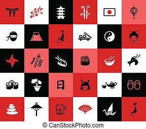 Set von flachen Design japanische Icons.