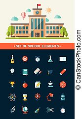 Set von flachen Design Schule Icons.