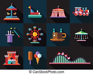 Set von flachen Design Vergnügungspark Icons.