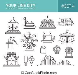 Set von flachen Design Vergnügungspark Linie Icons.