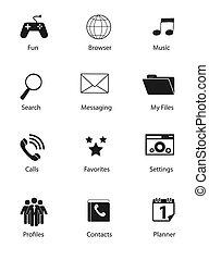 Set von flachen Symbolen Vektorgrafik.