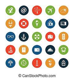 Set von flat design travel icons.