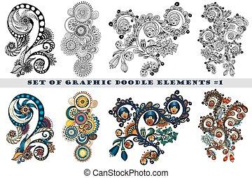 Set von henna paisley mehndi doodles design element.