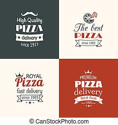 Set von hochwertigen Pizza-Etiketten.