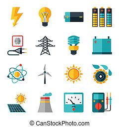 Set von Industrie Power Icons im flachen Design Stil.