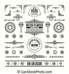 Set von linearen dünnen Linien Art deco retro Vintage Design Elemente mit Rahmenecke.