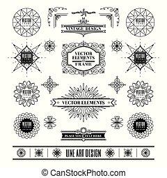 Set von linearen Linien Art deco Retro Design Elemente mit Rahmeneckenabzeichen in geometrischer Form.