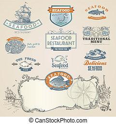 Set von Meeresfrüchten-Etiketten und -elementen