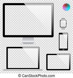 Set von realistischen Display, Laptop, Tablet Computer, Handy, Smart Uhr Vorlage auf transparentem Hintergrund.