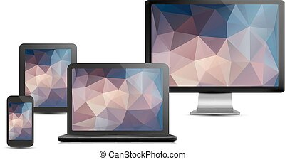 Set von realistischen Display, Laptop, Tablet-Computer und Handy-Vorlage mit Polygon Hintergründen. Vector.