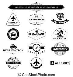 Set von schwarzen und weißen Marken und Labels.