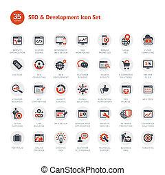 Set von SEO und Entwicklungs-Ikonen