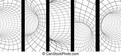 Set von vertikalen oder horizontalen Bannern mit abstraktem 3d Tunnel