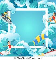 Set von Wasser Extremsport Hintergründen, isolierte Designelemente für Sommer-Urlaub Spaß Konzept, Cartoon Wave Surfing, Seestrand vektor Illustration, aktive Lifestyle Abenteuer.