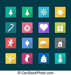Set von Weihnachts-Flach-Icons, Vektor-Darstellung.
