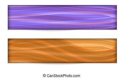 Set von zwei abstrakten Bannern mit farbigen Linien.