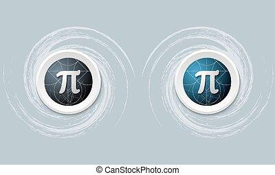Set von zwei Icon und pi Symbol.