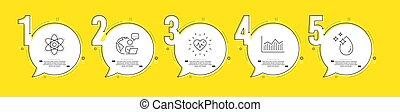 set., wasser, diagramm, geld, chemie, vektor, zeichen., herzschlag, atom, tropfen, heiligenbilder
