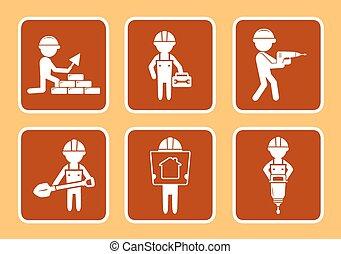 Setzen Sie Bau-Icons mit Builder.