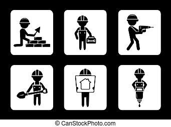 Setzen Sie Bausymbole mit Bauarbeitern.
