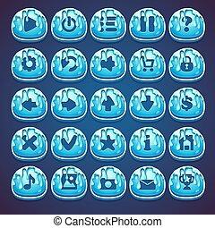 Setzen Sie blaue Buttons für Web-Video-Spiel in Stil Marmelade.