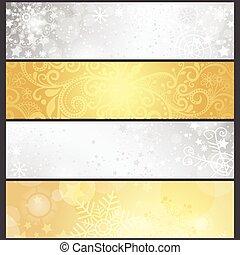 Setzen Sie silber- und goldfarbene Winterbanner.