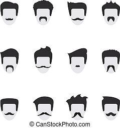 Setzen Sie Vektor-Icons mit Schnurrbart