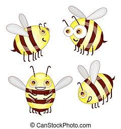 Setzen Sie Zeichentrick-Süße Bienen isoliert auf weißem Hintergrund Vektor illust.