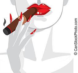 Sexy Frau in Rot, raucht eine Zigarre.