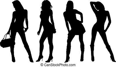 Sexy Frauen schilhouettes