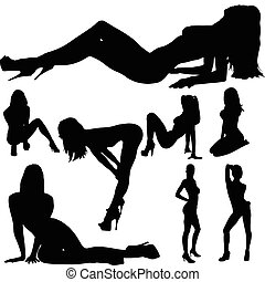 Sexy Girl Body Vektor-Silhouettes