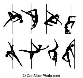 sexy, tänzer, stange, satz, schwarz, vektor, weibliche , abbildung, isolated., silhouetten